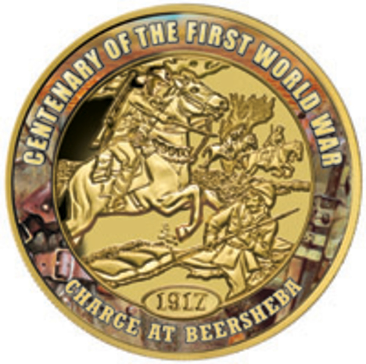 The historic charge of the Australian 4th Light Horse at Beersheba is remembered on this Niuean $100 gold proof. (Image courtesy Downies)