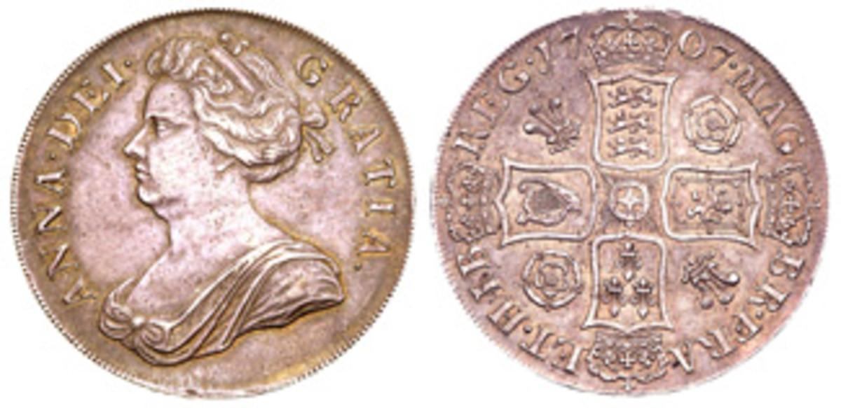 1707 pre-Union crown (5 shillings) struck at London. (Images courtesy Dmitri Markov)