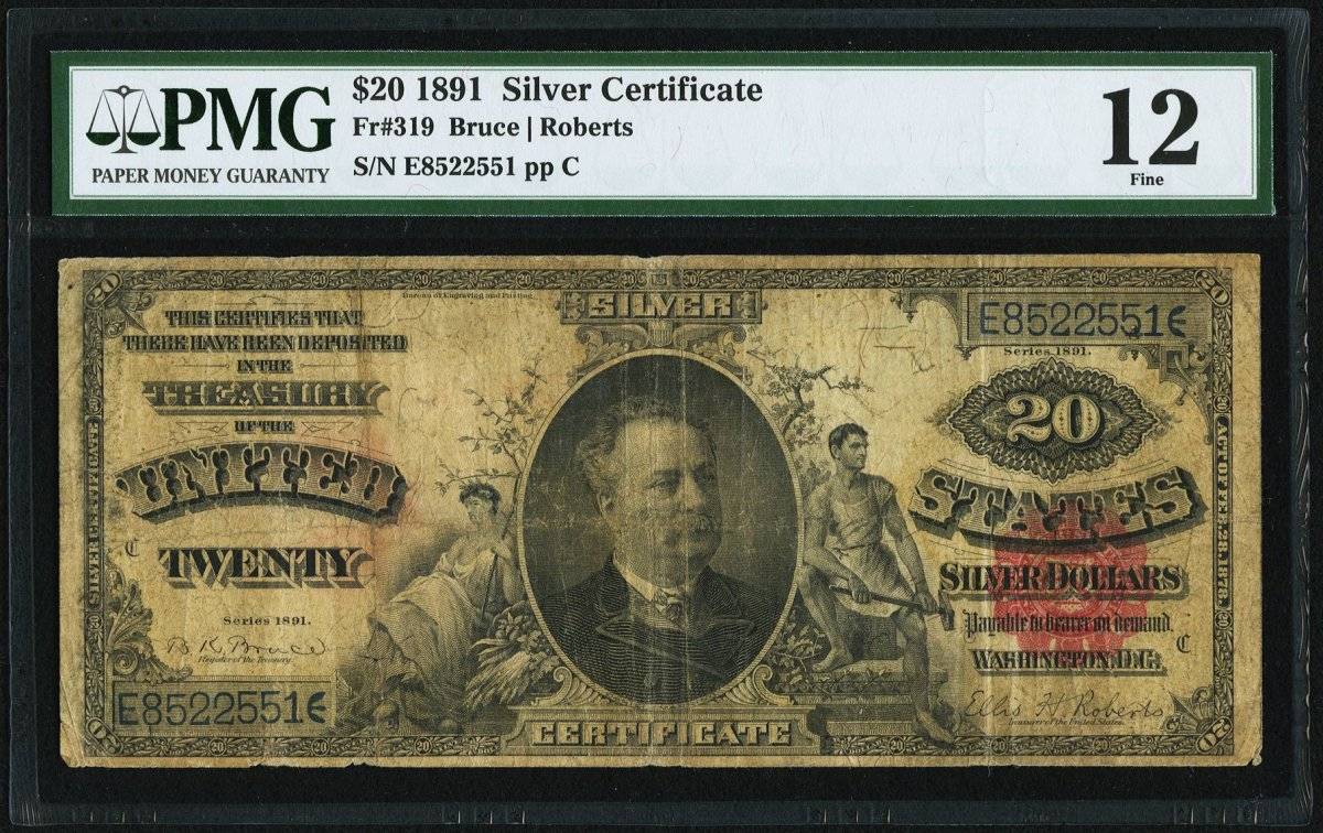 "The second Silver Certificate I tracked was Lot #84530. Silver Certificate, Fr #319, is a $20 1891 PMG Fine 12. The bank note has a small red seal and features Daniel Manning at center flanked by Agriculture and Industry. ""Series 1891"" appears at upper right and lower left. The lot had 4 bidders and hammered at $480."