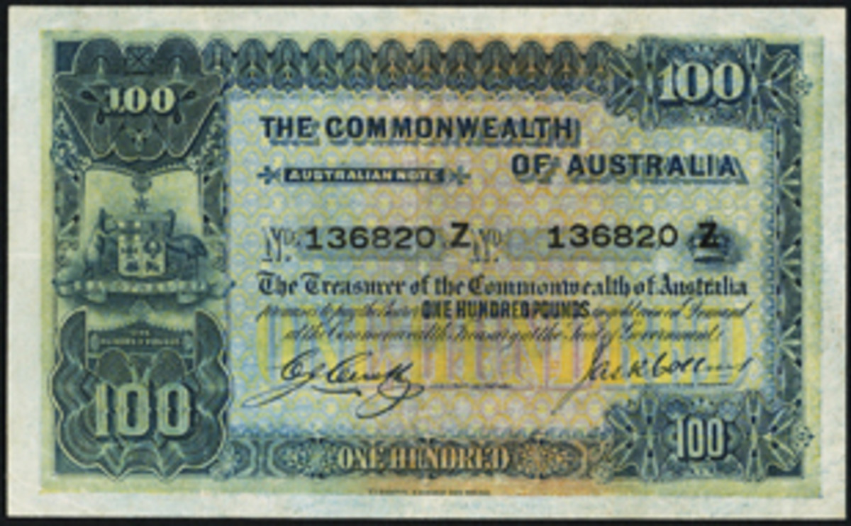 One of nine known first issue Commonwealth of Australia £100 notes signed by Cerutty/Collins that have a Z serial suffix (P-9b; R-69a; McD-96). In the sale, it will carry an estimate in the region of $80,000 graded PMG Very Fine 30. (Image courtesy www.ha.com)