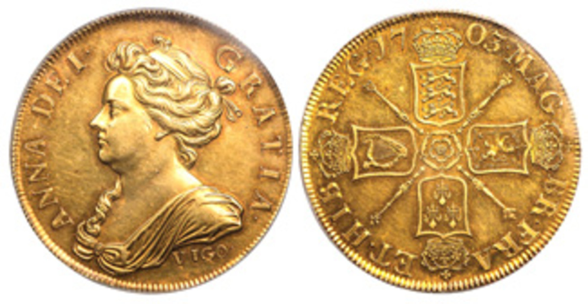 1703 5 guineas with VIGO. (Images courtesy St. James)