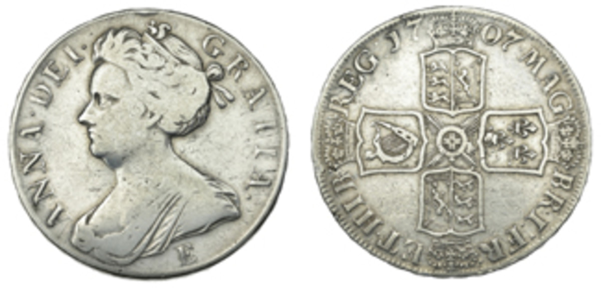 1708 silver crown (5 shillings) struck at Edinburgh. The mintmark E is below the bust on the obverse. (Images courtesy Dix Noonan Webb)