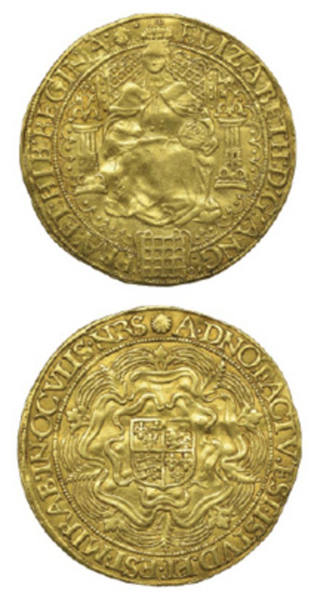 Hammered gold sovereign of Elizabeth I c. 1583-1600, that fetched $17,556 in Dix Noonan Webb's June sale. (Images courtesy DNW)