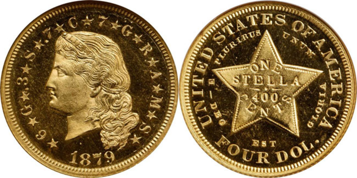 Classic 1879 Flowing Hair Four-Dollar Stella.  Image courtesy of Stack's Bowers.