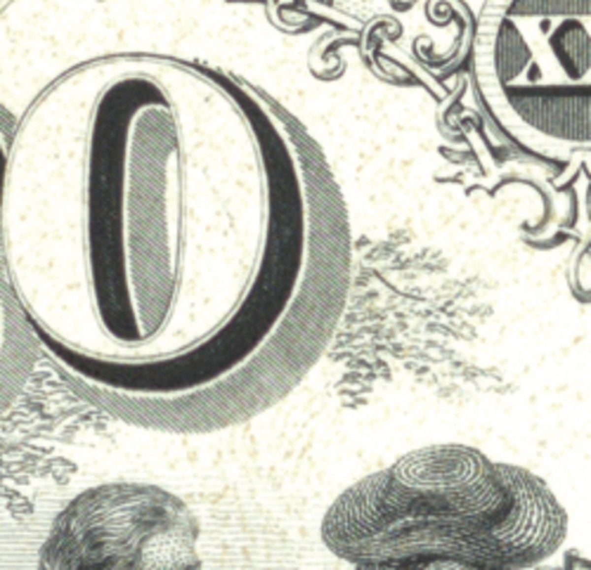 Detail of a proof from a well-formed transfer of the engraved image that you can use to compare with those above.