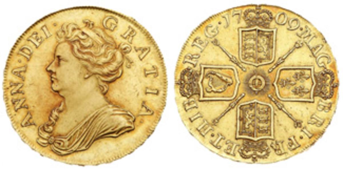 1709 post-Union 5 guineas. (Images courtesy Dmitri Markov)