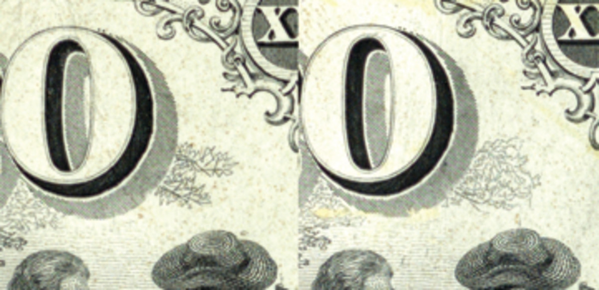 Details from the A and B subjects on the $20 BEP Series of 1875 proof showing the sketched-in leaves to the right of and under the zero in the counter. They were scribed in freehand using an engraving tool in order to flesh out incomplete transfers.
