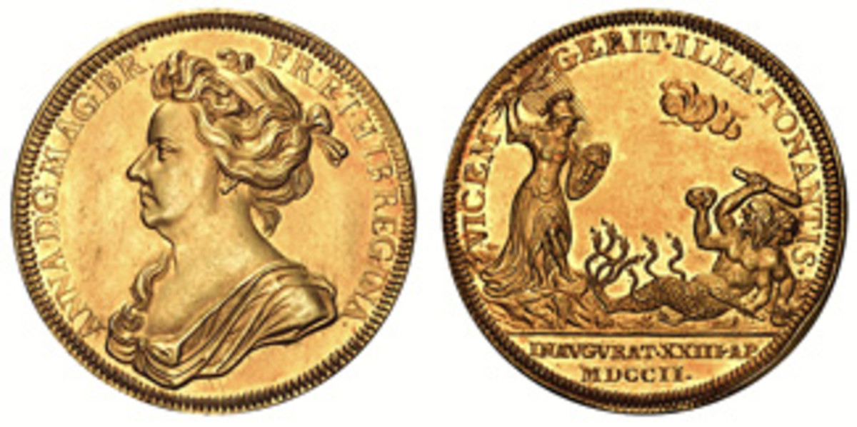 1702 Coronation medal for Anne. The reverse shows the Queen hurling thunderbolts at former King James II and his French ally, Louis XIV. (Images courtesy Stack's Bowers)
