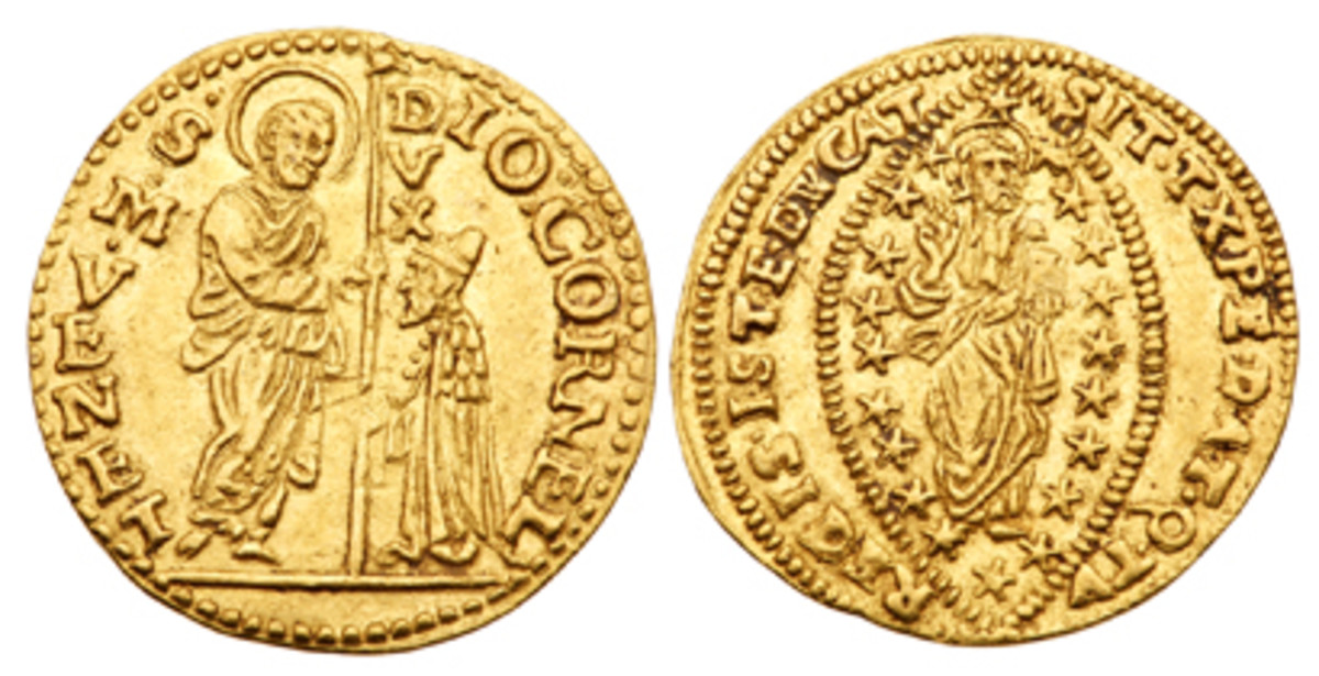 Also on display will be this historic gold zecchino (1625-1629) of the Venetian Doge, Giovanni I. Corner, which depicts him kneeling while being blessed by Mark, the patron saint of Venice, and depicts Christ on the back giving a benediction. (Photo courtesy Lyle Engleson/Goldberg Coins & Collectibles)