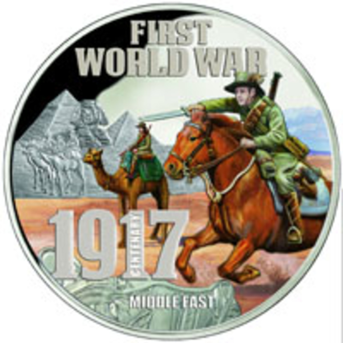 Australia's Light Horse were based in Egypt for the first part of WWI as depicted on this 5 oz .999 fine silver colorized proof Niuean $10. (Image courtesy Downies)