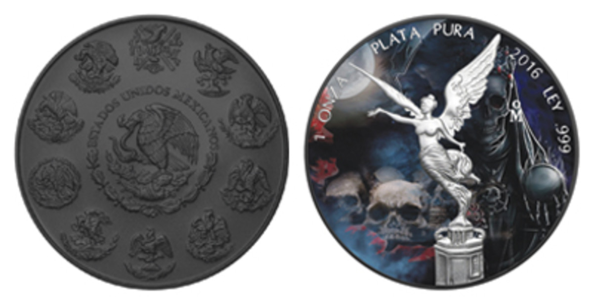 Santa Muerte: one-ounce silver Mexican Libertad fully-plated with black ruthenium and then enhanced with artwork appropriate to Holy Death on the reverse. (Image courtesy www.melbournemintcoins.com.au)