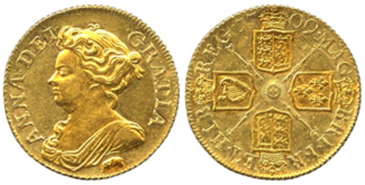 1709 guinea with elephant below bust, symbolizing gold obtained from Africa. (Images courtesy St. James)