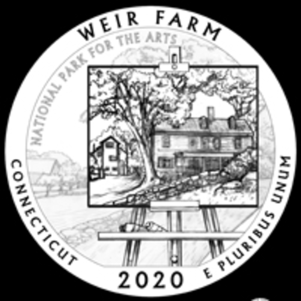 An improved Weir Farm design completed the work of the CCAC on 2020 America the Beautiful quarters. The portrait on easel look is something perhaps borrowed from the 1980 Grant Wood American Arts gold medallion, though much more cleaverly done. On the medallion it was simply a portrait on an easel that was not part of a larger landscape.