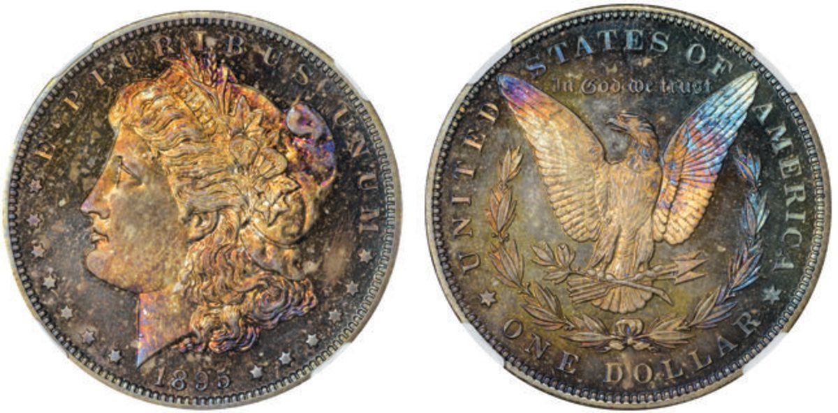 This 1895 Morgan dollar graded NGC PR-67 realized $120,000 at the 2020 ANA National Money Show auction by Kagin's Auctions.