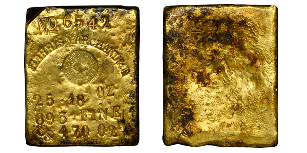 The ingot bears the serial number 6542 with the company name Harris Marchand & Co. clearly above the logo.  Below the logo, a weight of 25.18 oz with .893 Fine.  A stamped value of $470.02 is on the final line. (Image courtesy of Stack's Bowers)