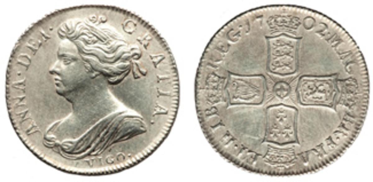 1702 shilling with VIGO on obverse. (Images courtesy Heritage)