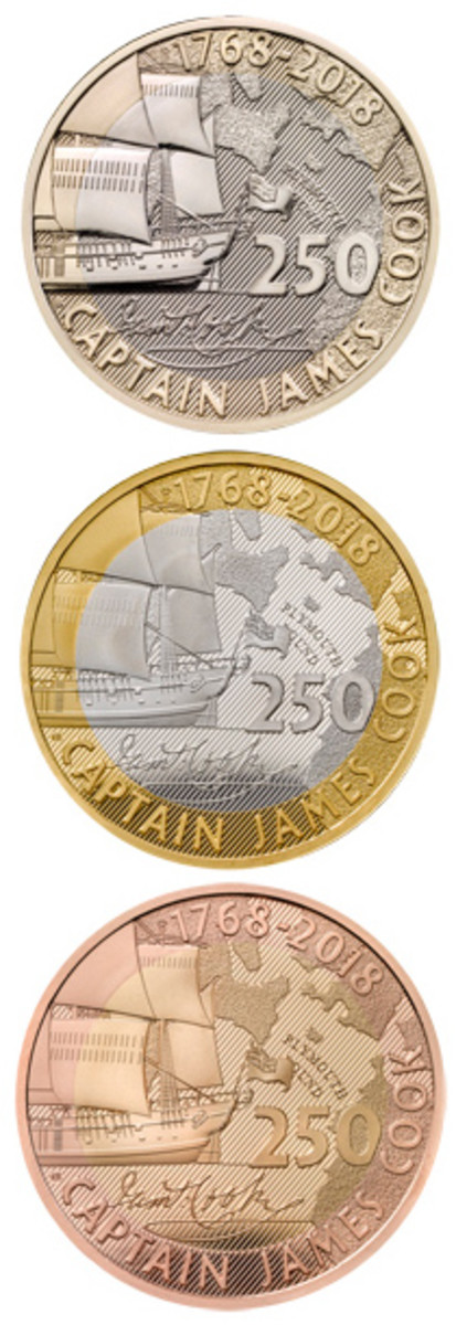 Reverses of Britain's BU base metal, silver, and gold proofs struck to mark the 250th anniversary of the commencement of Lieutenant James Cook's first voyage. (Images courtesy & © The Royal Mint)