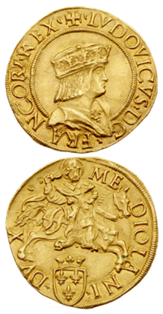 """A rare doppio ducat of French King Louis XII as the Duke of Milan (1499-1512) is one of the many highlights of the $8 million """"Tyrants of the Tyrrhenian and Adriatic Seas"""" exhibit at the September 2018 Long Beach Expo. (Photo courtesy Lyle Engleson/Goldberg Coins & Collectibles)"""