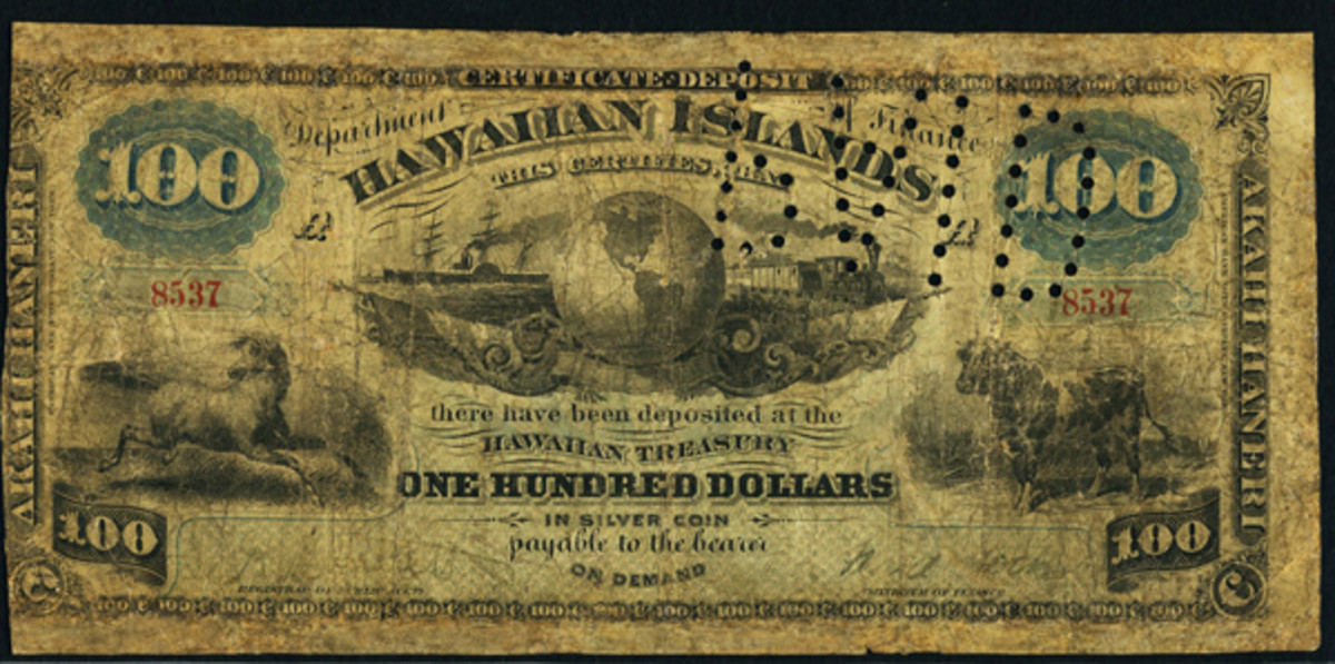 Grade isn't everything: Kingdom of Hawaii-issued $100 that sold for $31,200 despite being graded PCGS Good 6 and having restorations. (Image courtesy and © www.ha.com)