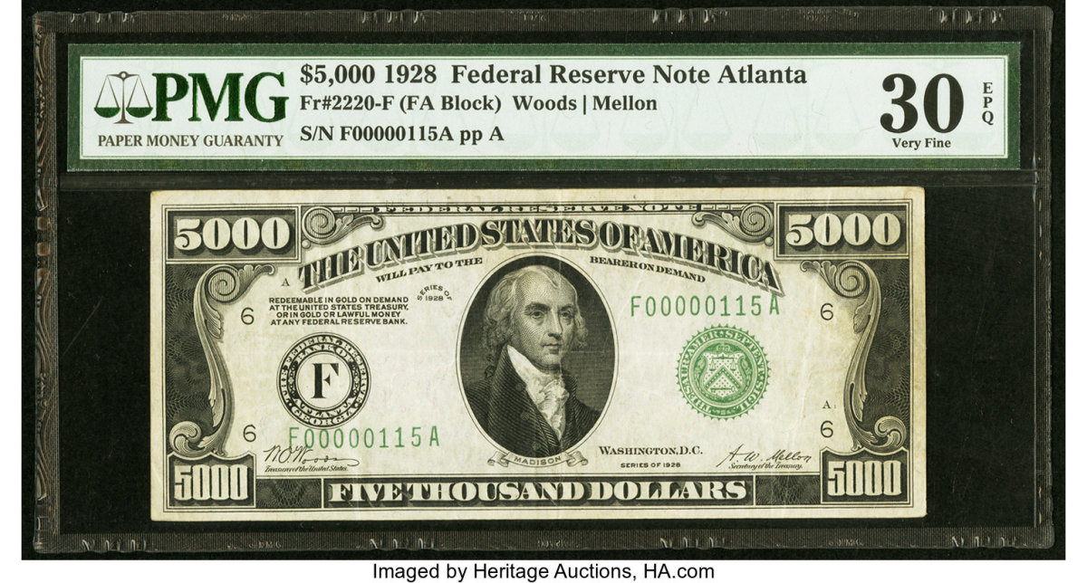 Realizing $117,000 during the Currency Platinum Night Auction, this $5,000 1928 Federal Reserve Note is one of just twenty examples known. (Image courtesy of Heritage Auctions)