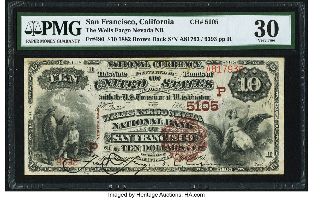 "National Bank Notes are widely collected for many reasons. Having many interesting variations and types, they are historically interesting because they were issued by ""home town"" banks. Lot #84578 is a $10 Wells-Fargo Nevada NB, CH #5105, Fr. #490 note. This 1882 Brown Back in VF30 has a scalloped red seal.  The vignettes are Franklin and Electricity at left and America Seizing Lightning at right. The hammer price realized was $900."