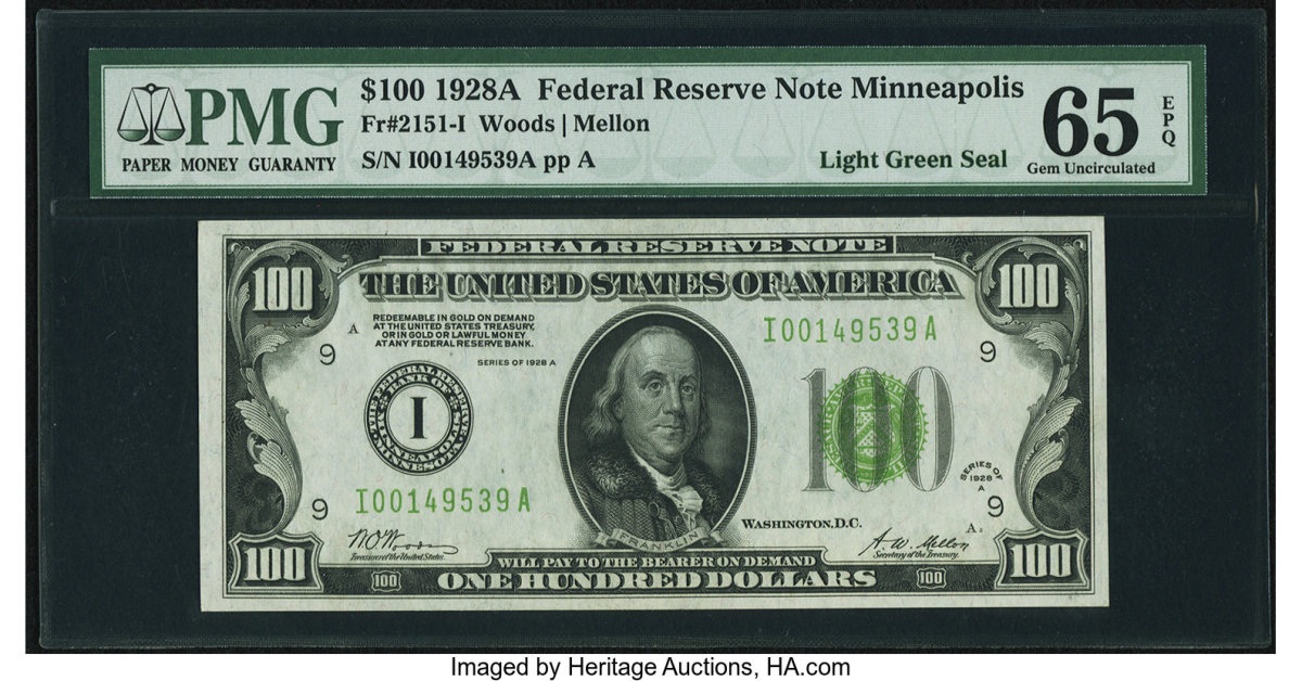 Last but not least, Lot #84432 was a $100 1928A Small Size Federal Reserve Note, Minneapolis, bearing a light green seal. This FR.# 2151-I example is PMG Gem Uncirculated 65 EPQ and has the signatures of Woods and Mellon. Having 5 active bidders it hammered at $3,400.