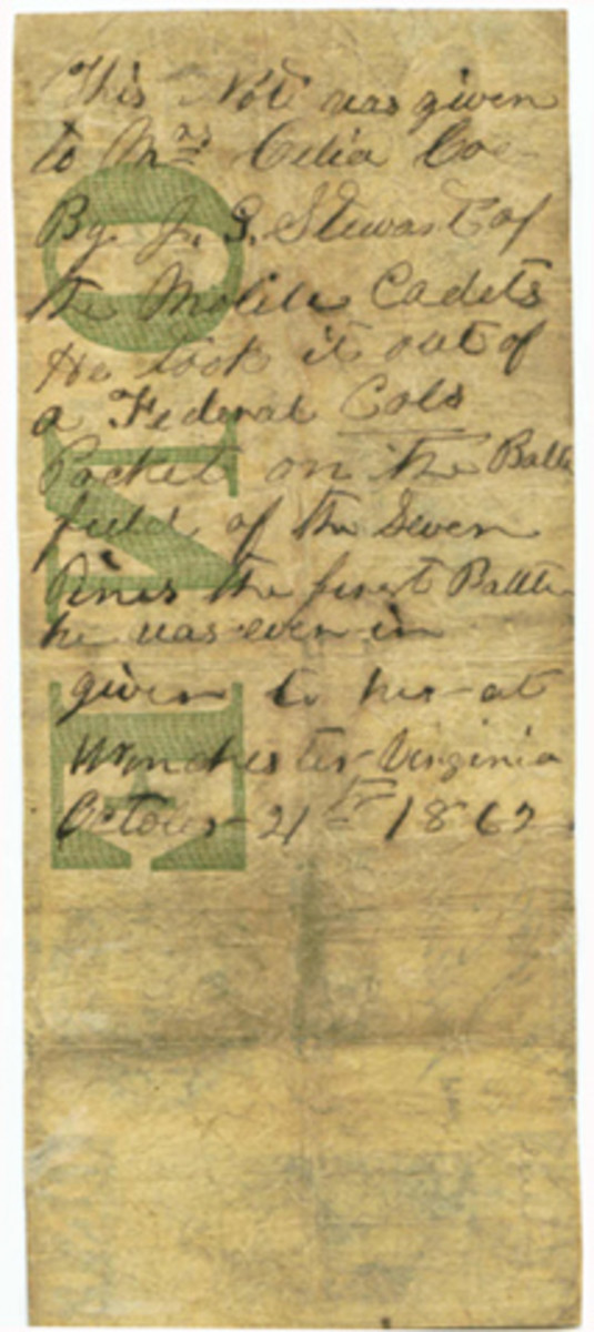 Here is the back of the Girard Bank $1 note, with the inscription by Pvt. J.G. Stewart of the Confederate Mobile Cadets regiment.