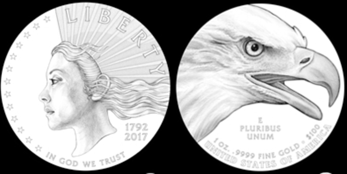 New images of Miss Liberty are appearing on American precious metals coinage. This pair of designs was recommended to the Treasury secretary by CCAC. Collectors of Indian Head $10 gold coins might think the rays from Miss Liberty's head resembles a headdress.