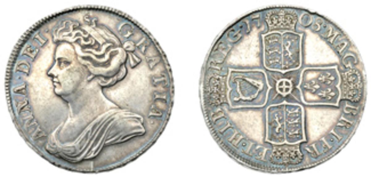 1708 half crown (2 shillings sixpence) struck at London. (Images courtesy Dix Noonan Webb)