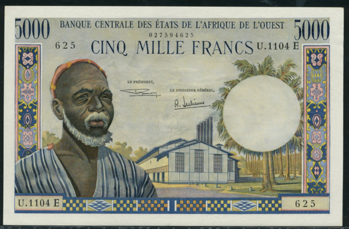 Western African States Mauritania 5,000 francs of 1965