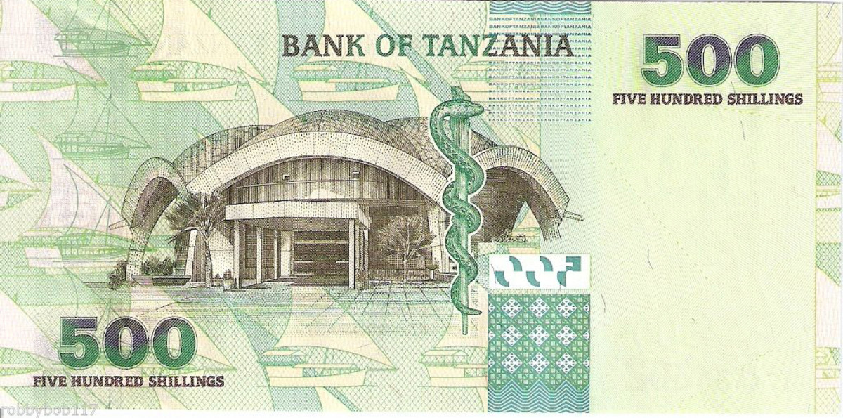 Reverse of the current 500 shillingi bank note.