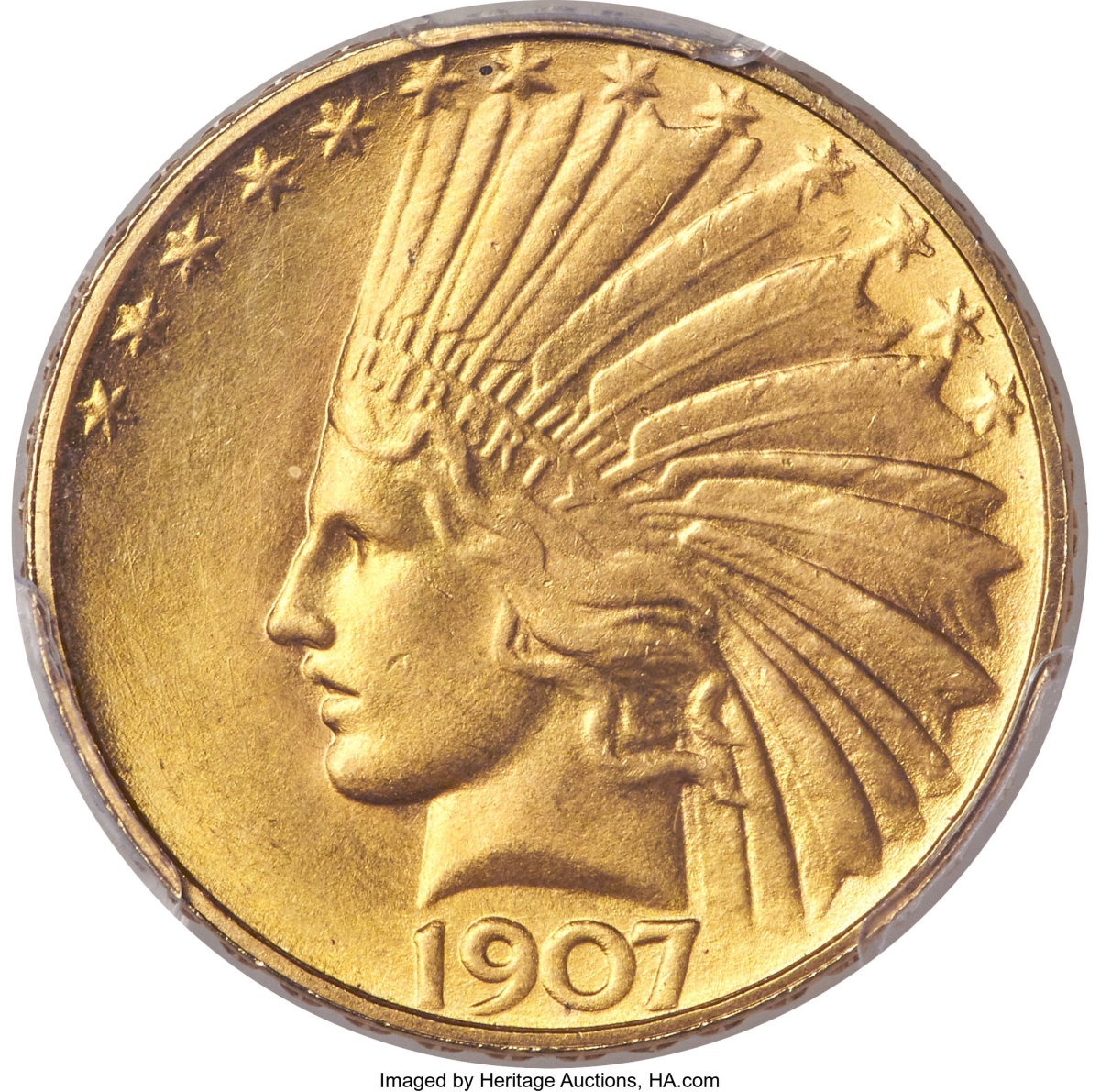 With a final selling price of $240,000, this 1907 rolled rim Indian eagle is one of the rarest issues in the series. The example sold here was graded MS64+ PCGS. CAC. (Image courtesy of Heritage Auctions)