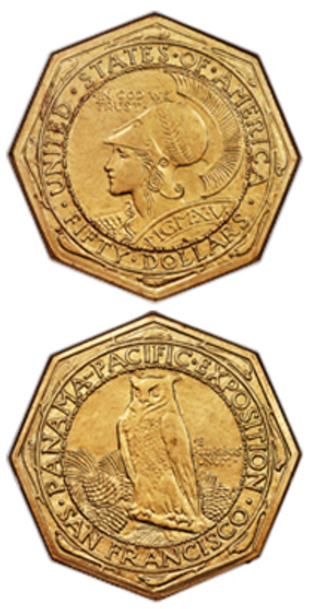 Selling for $90,000 in the latest Heritage auction was this 1915-S octagonal $50 Panama-Pacific commemorative coin.