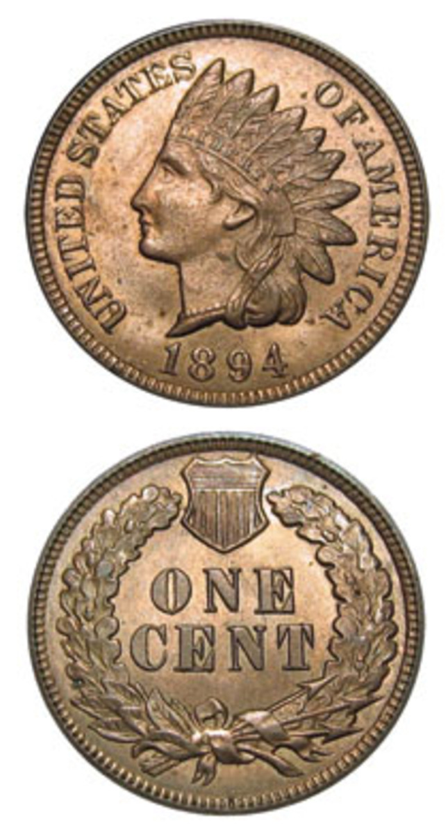 While supplies of the 1894 Indian Head cent are decent, they are a long way from being unlimited, which may make this better date a sleeper. (Image courtesy www.usacoinbook.com)