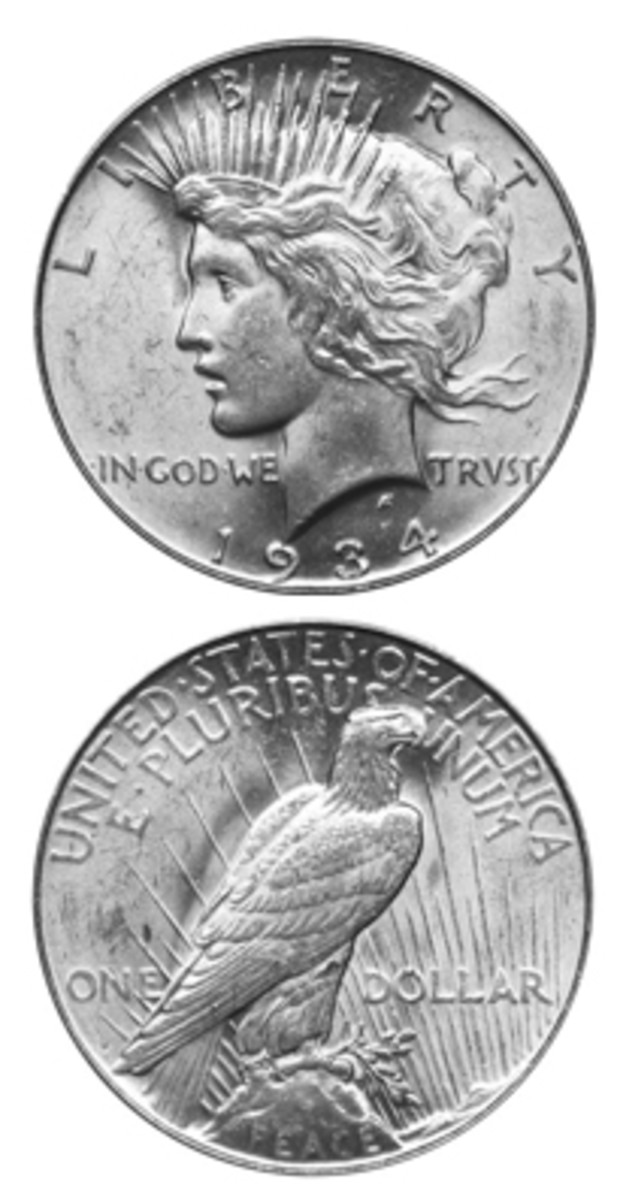 It is possible that the 1934-D Peace dollar was the only one in the series never released in bag quantities. (Images courtesy www.usacoinbook.com)