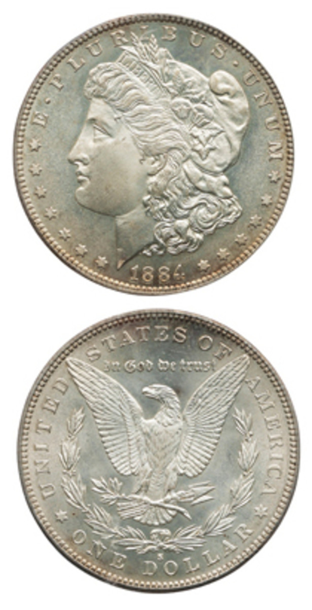 Pre-sale estimate for this 1884-S Morgan dollar, which is graded MS-67 CAC by the Professional Coin Grading Service, is $300,000-$500,000.