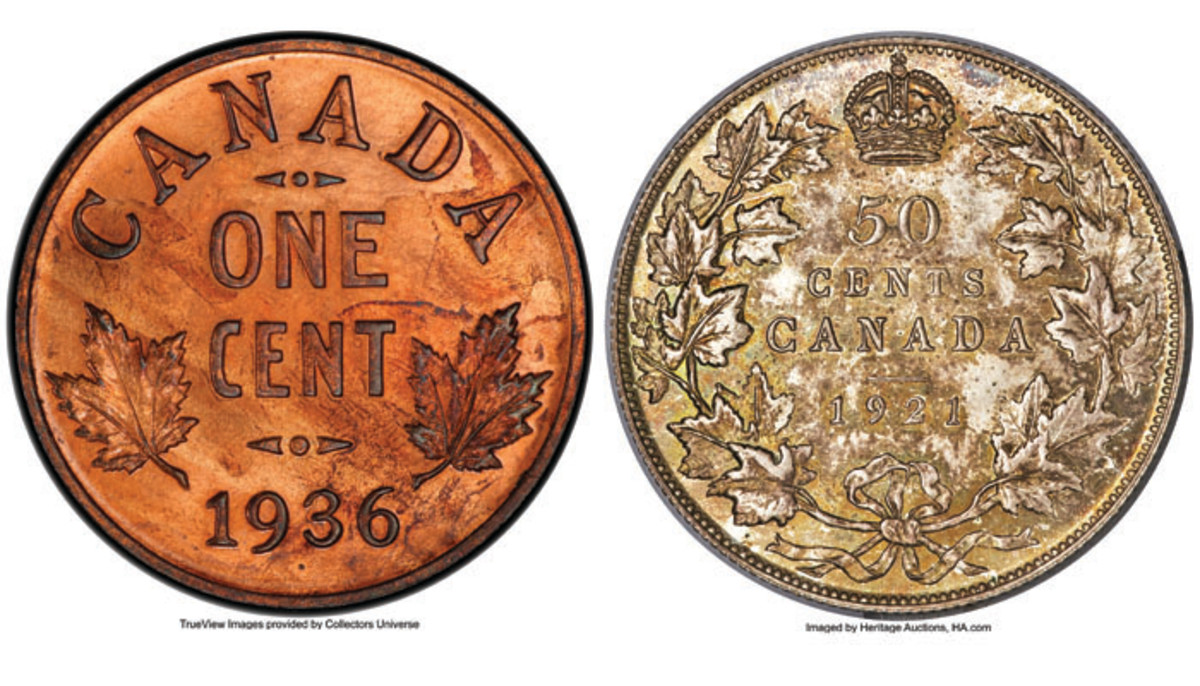 Reverses of the superb Canadian George V 'dot' cent of 1936 (KM-28) and  George V 50 cents of 1921 (KM-25a) from the Cook Collection that realized $312,000 &  $240,000 in SP65 Red and Brown PCGS & MS66 PCGS respectively. Images courtesy and © www.ha.com.