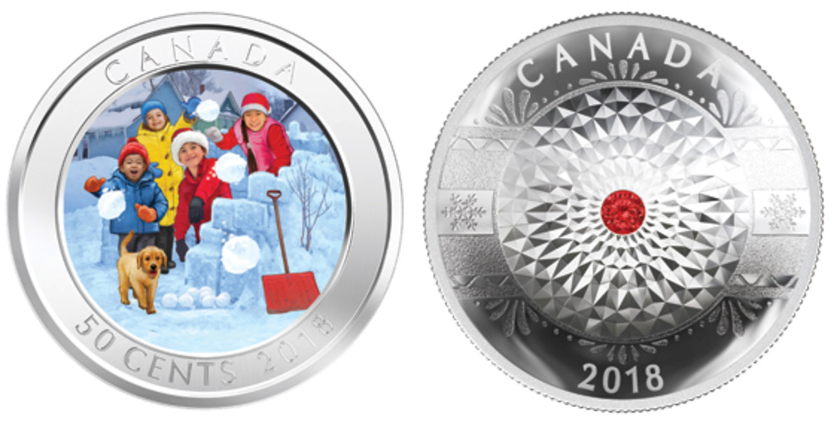 Two currently available Royal Canadian Mint Christmas/Holiday seasonal coins. Left: Snowball fight 50 cents. Right: Glass decoration $25 proof. (Images courtesy RCM)
