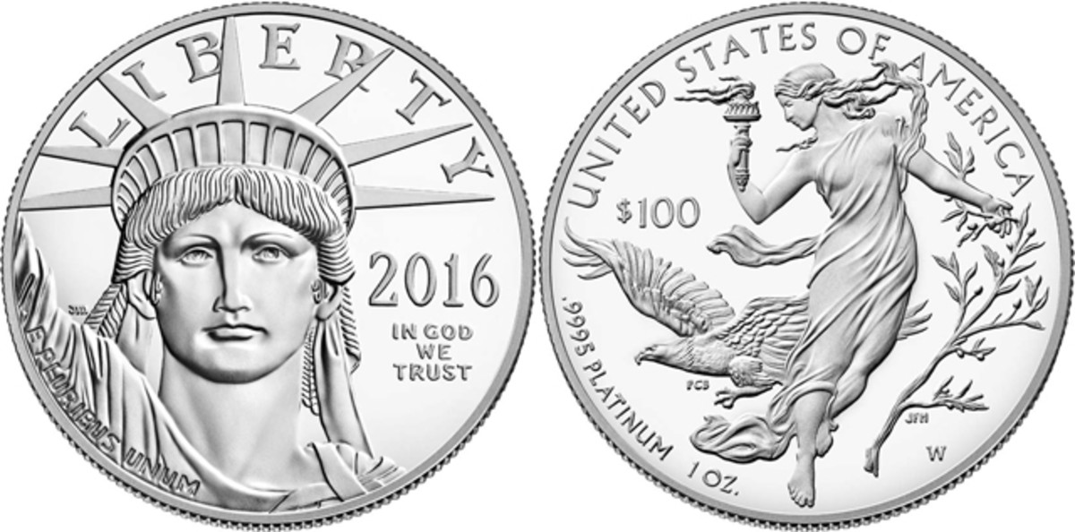 """A fairly large """"W"""" mintmark appears at the lower right on the 2016 proof platinum coin."""