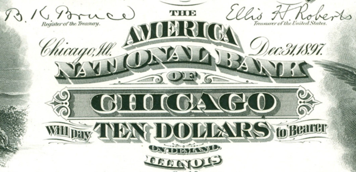 The Series of 1882 10-10-10-20 plate for Chicago, Ill., charter 5111, was the first to carry a date of organization after Comptroller Ridgely correctly decided that the date of organization was more important to bankers than the date of charter.