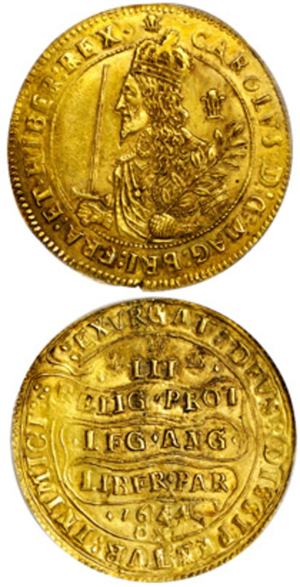 Arguably one of the rarer Charles I triple unites, 1644 (KM-339; S-2730). It comes graded PCGS AU-55. (Images courtesy Stack's Bowers)