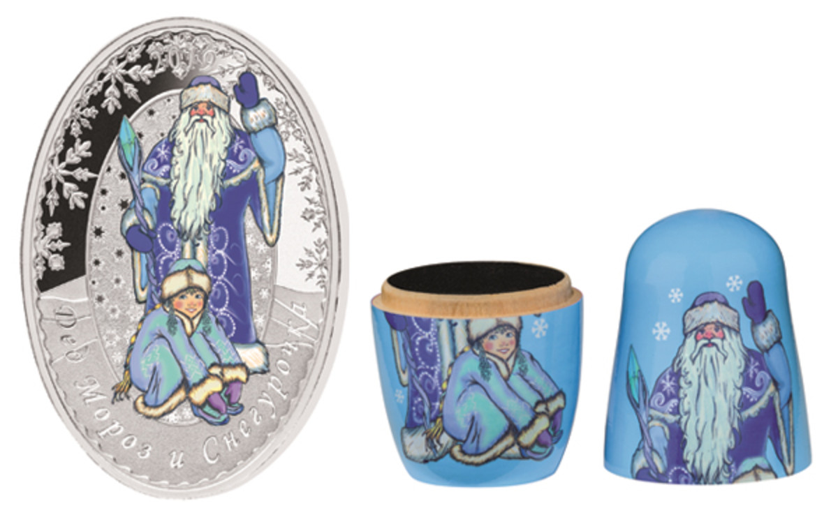 Solomon Island's colored proof $5 features Father Frost & Snow Maiden along with one of the Matryoshka Dolls in which it comes housed. (Images courtesy MDM Münzhandelsgesellschaft)