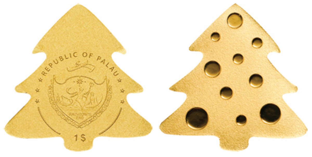 Palau's gold Christmas tree dollar makes a regular appearance each Christmas season. (Images courtesy Coin Invest Trust)