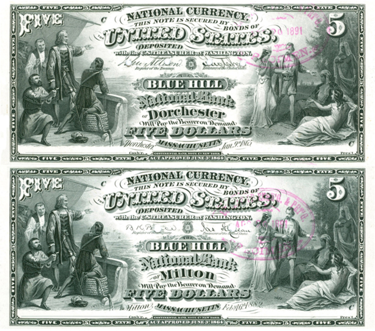 The first plate to carry a title change date was made for The Blue Hill National Bank of Milton, Mass., after the bank was moved from Dorchester. That date was Feb. 16, 1882.