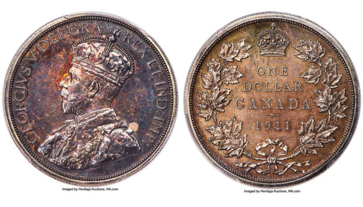 George Cook's George V specimen pattern Canadian dollar of 1911, the sole example in private hands (KM-Pn15, DC-6). It sold for $552,000 in SP64 PCGS in Heritage Auctions' Platinum Night sale at this year's ANA World Fair of Money. Images courtesy and © www.ha.com.