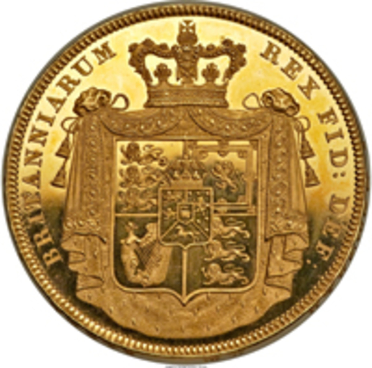 Reverse of George IV gold £5, KM-702, S-3797, that sold for $305,500. (Image courtesy and © www.ha.com)