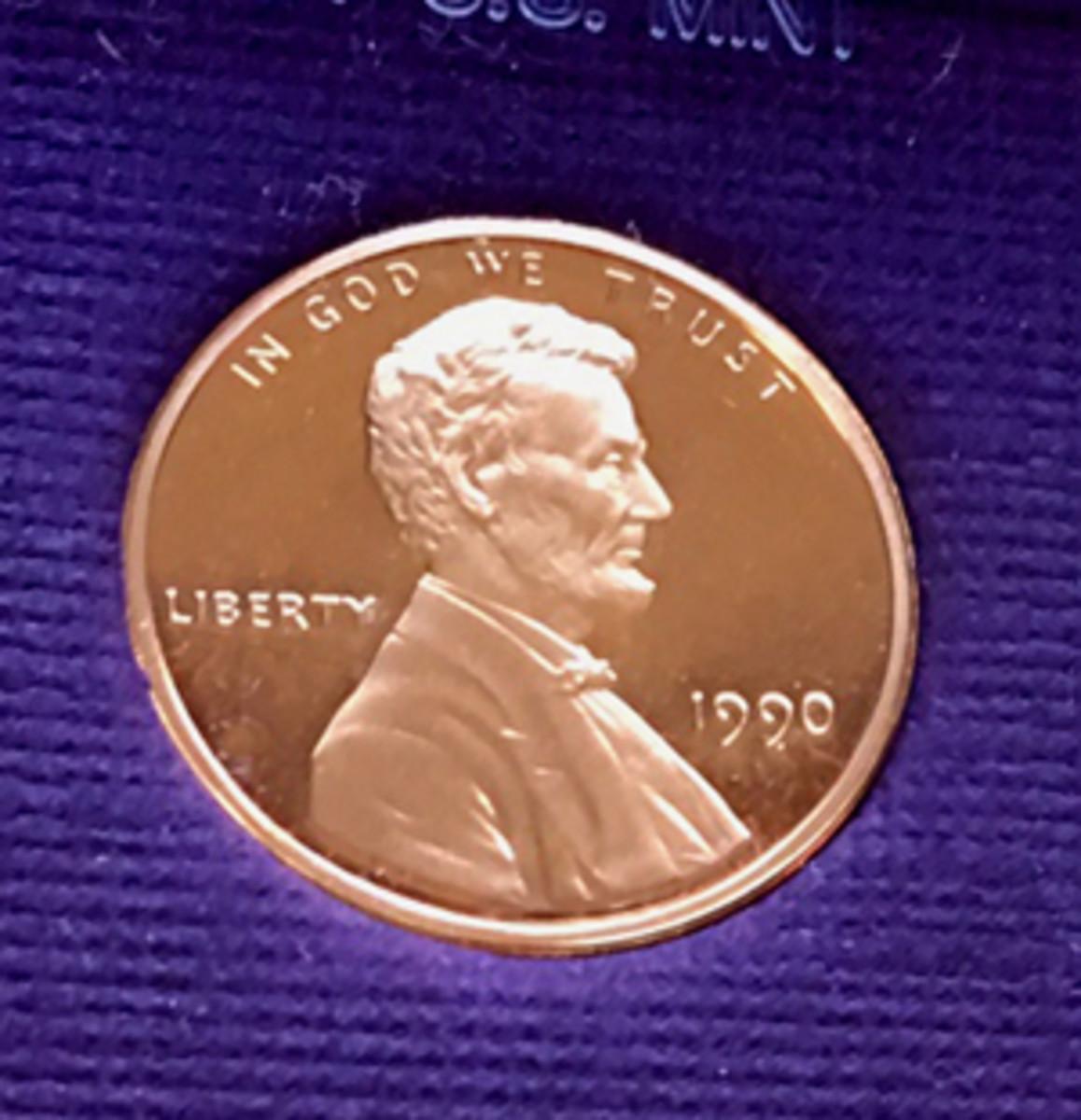 "1990 ""No S"" proof cent"