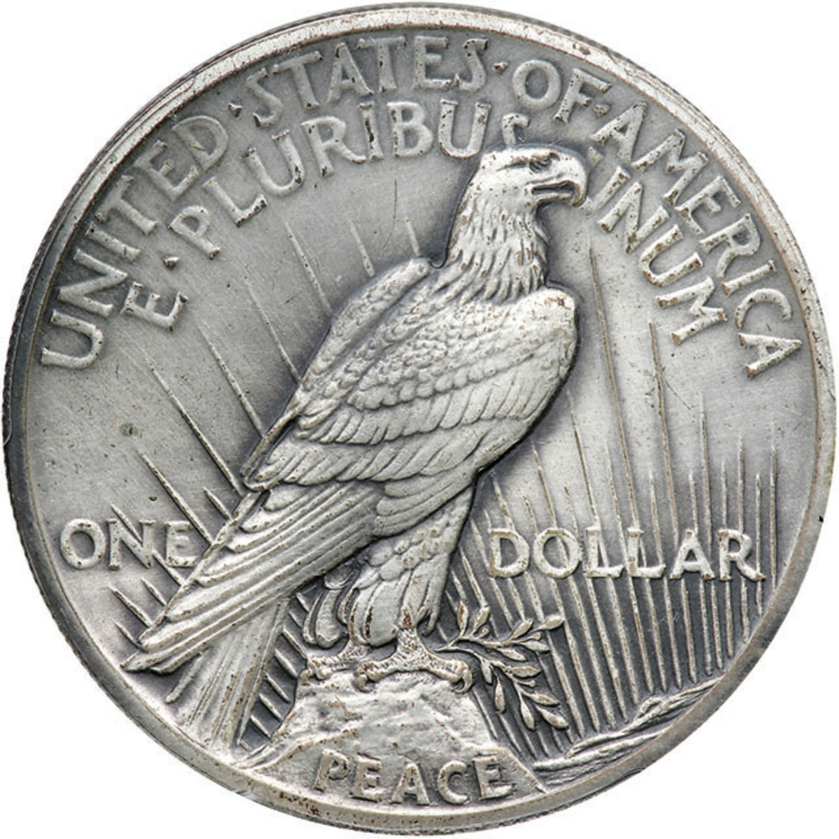 Reverse of the PCGS Proof-64 1922 matte proof high relief Peace dollar