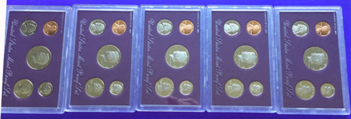 "Five 1990 proof sets yielded the rare and valuable proof 1990 cent without the ""S"" mintmark."