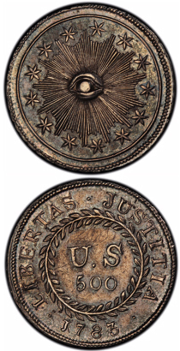 Authorized by Congress, the unique 1783 plain obverse Nova Constellatio Quint silver coin had a value of 500 units in a proposed but later abandoned early American decimal monetary system that would have ranged from 5 to 1,000 units. (Photo courtesy of PCGS.com)
